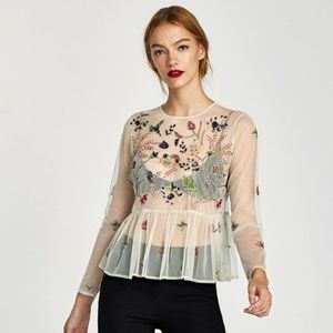 Zara Tulle Lace Top with Beautiful Embroidery